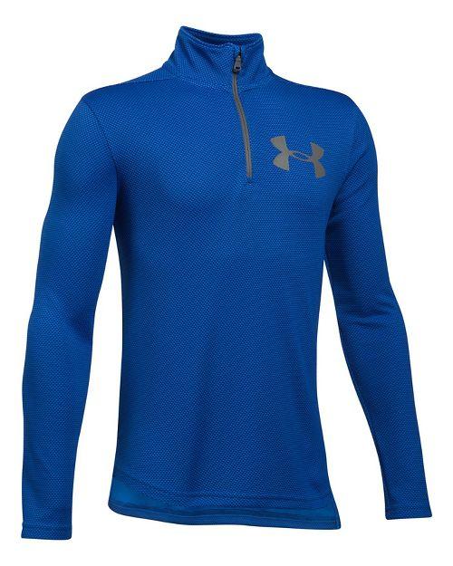 Under Armour Textured Tech 1/4 Zip Half-Zips & Hoodies Technical Tops - Blue/Graphite YL