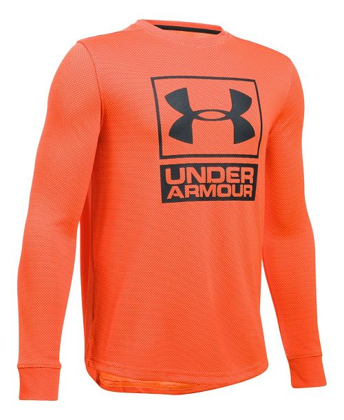 Under Armour Textured Tech Crew Long Sleeve Technical Tops - Orange/Anthracite YXS