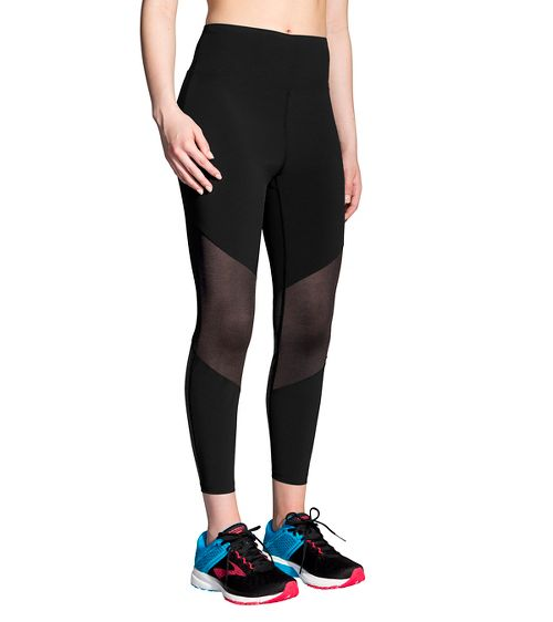 Womens Brooks Ghost High Waist Mesh Crop Pants - Black XL
