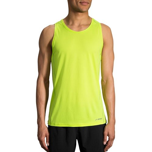 Mens Brooks Ghost Sleeveless & Tank Technical Tops - Lime M