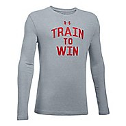 Under Armour Train To Win Tee Long Sleeve Technical Tops - Heather/Red YL