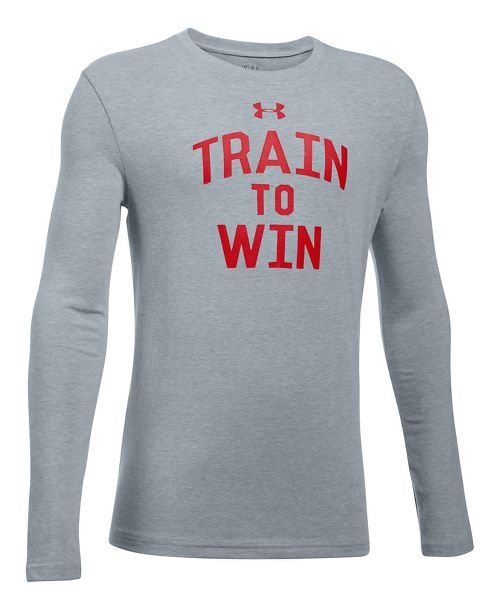 Under Armour Train To Win Tee Long Sleeve Technical Tops - Heather/Red YXL