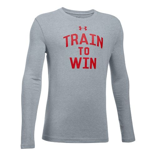 Under Armour Train To Win Tee Long Sleeve Technical Tops - Heather/Red YM