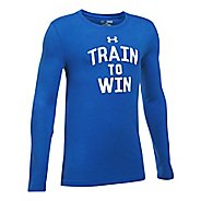 Under Armour Train To Win Tee Long Sleeve Technical Tops - Blue/White YXL