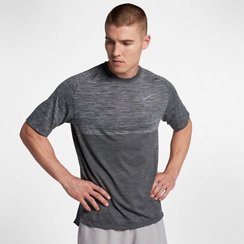 Mens Nike Dry Medalist Short Sleeve Technical Tops - Wolf Grey/Black L