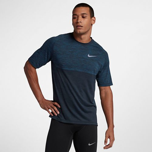 Mens Nike Dry Medalist Short Sleeve Technical Tops - Blue Force/Black L