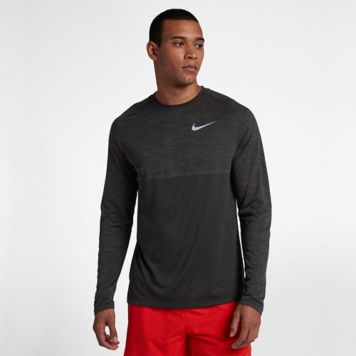 Mens Nike Dry Medalist Top Long Sleeve Technical Tops - Anthracite/Black L