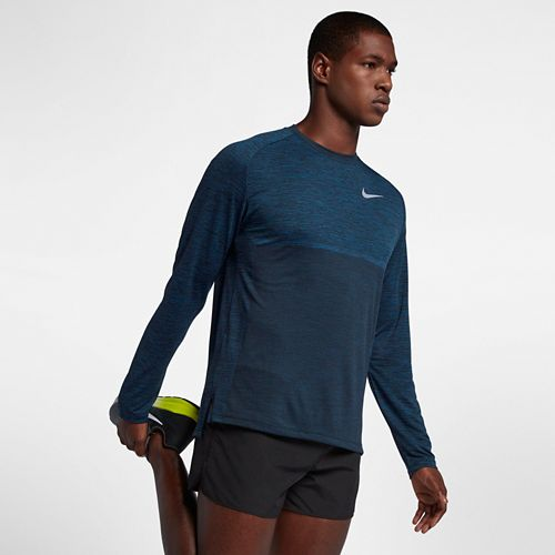 Mens Nike Dry Medalist Top Long Sleeve Technical Tops - Blue Force/Black L