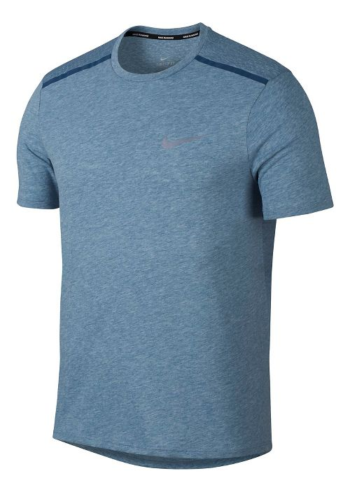 Mens Nike Breathe Tailwind Short Sleeve Technical Tops - Blue Force M