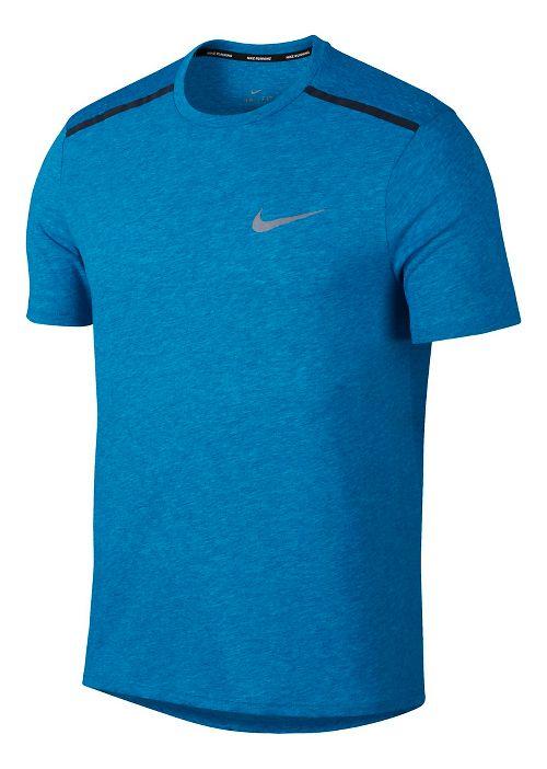 Mens Nike Breathe Rise 365 Short Sleeve Technical Tops - Equator Blue L