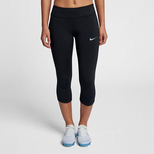 Womens Nike Power Epic Lux Capri Mesh Capris Pants - Black L