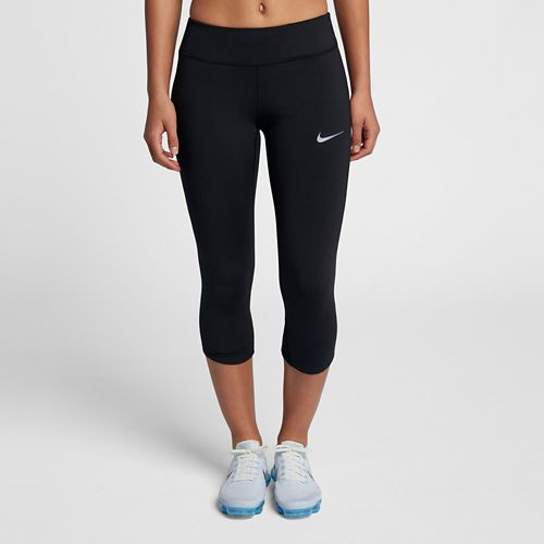 Womens Nike Power Epic Lux Capri Mesh Capris Pants - Black S