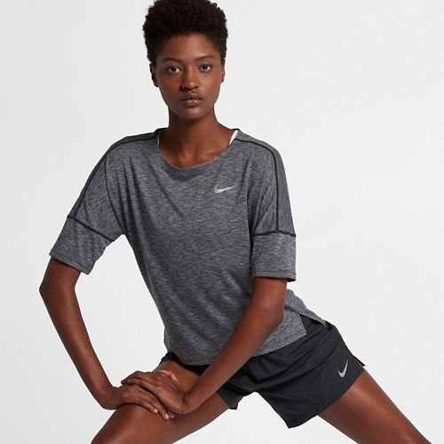 Womens Nike Dry Medalist Heathered Short Sleeve Short Sleeve Technical Tops - Black/Gunsmoke XL
