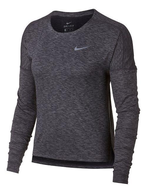 Womens Nike Dry Medalist Heathered Long Sleeve Long Sleeve Technical Tops - Black/Gunsmoke XL