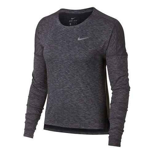 Womens Nike Dry Medalist Heathered Long Sleeve Long Sleeve Technical Tops - Black/Gunsmoke L
