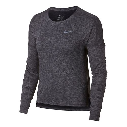 Womens Nike Dry Medalist Heathered Long Sleeve Long Sleeve Technical Tops - Black/Gunsmoke M