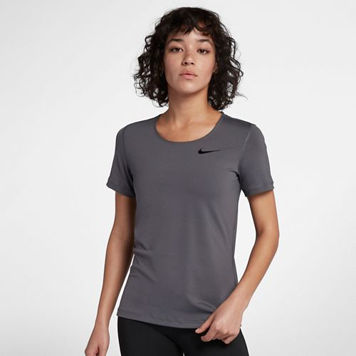 Womens Nike Pro All Over Mesh Short Sleeve Technical Tops - Dark Grey XS