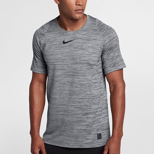 Mens Nike Pro Fitted Heathered Short Sleeve Short Sleeve Technical Tops - Black M