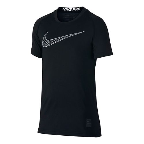 Nike Boys Pro Fitted Short Sleeve Top Short Sleeve Technical Tops - Black YXL