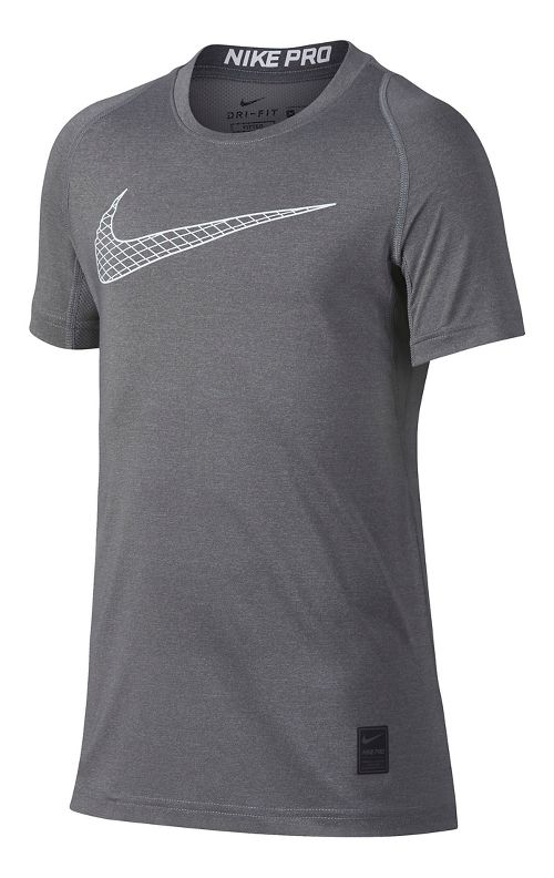 Nike Boys Pro Fitted Short Sleeve Top Short Sleeve Technical Tops - Carbon Heather YM