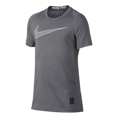 Nike Boys Pro Fitted Short Sleeve Top Short Sleeve Technical Tops - Carbon Heather YXL