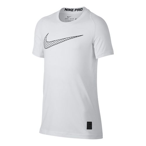 Nike Boys Pro Fitted Short Sleeve Top Short Sleeve Technical Tops - White YM