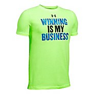 Under Armour Boys Winning BusineTee Short Sleeve Technical Tops - Lime/Anthracite YM