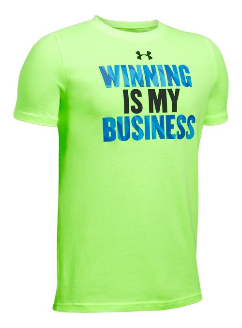 Under Armour Boys Winning BusineTee Short Sleeve Technical Tops - Lime/Anthracite YXL