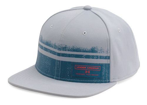 Mens Under Armour Graphic Flat Brim Headwear - Grey/True Ink