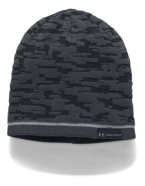 Mens Under Armour Reversible Graphic Beanie Headwear - Black/Black