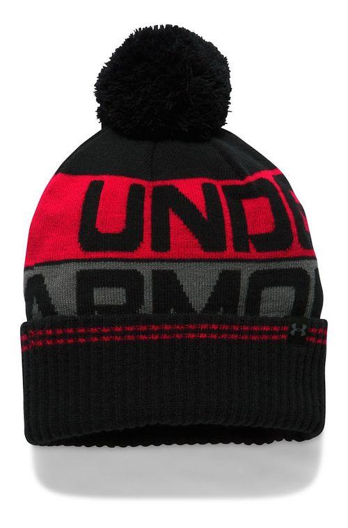 Mens Under Armour Retro Pom Beanie 2.0 Headwear - Black/Red