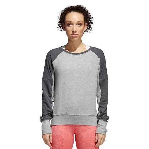 Womens adidas Performance Long Sleeve Crew Technical Tops - Grey/Dark Grey M
