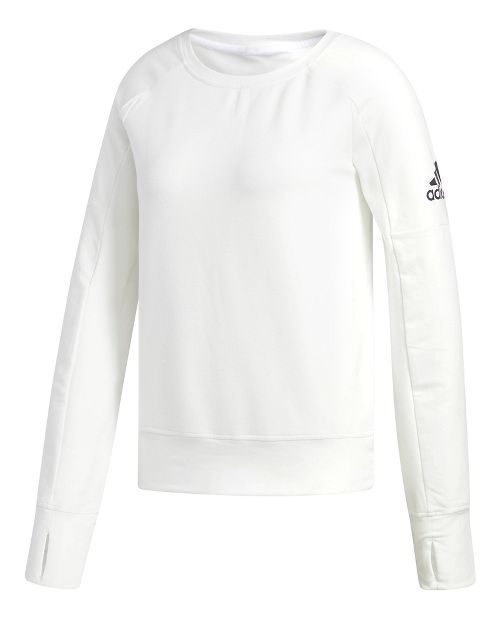 Womens adidas Performance Long Sleeve Crew Technical Tops - White/White XL