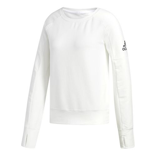 Womens adidas Performance Long Sleeve Crew Technical Tops - White/White M