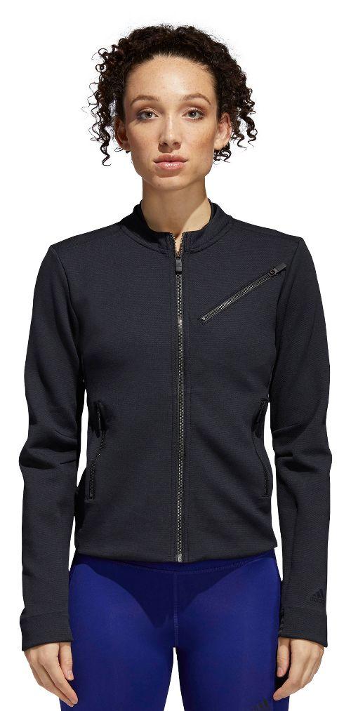 Womens Adidas Performance Moto Casual Jackets - Black/Carbon S