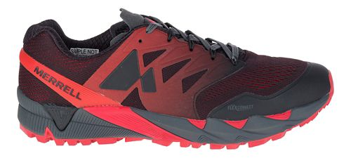 Mens Merrell Agility Peak Flex 2 E-Mesh Trail Running Shoe - Black/Red 11.5