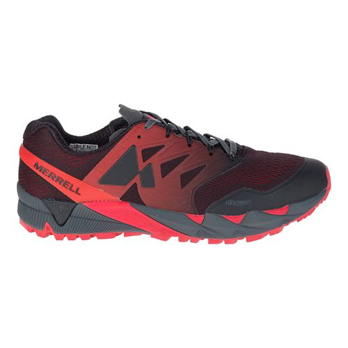 Mens Merrell Agility Peak Flex 2 E-Mesh Trail Running Shoe - Black/Red 10