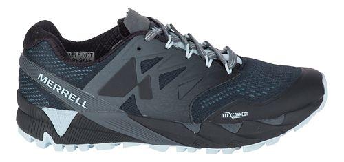 Womens Merrell Agility Peak Flex 2 E-Mesh Trail Running Shoe - Black/Light Blue 10.5