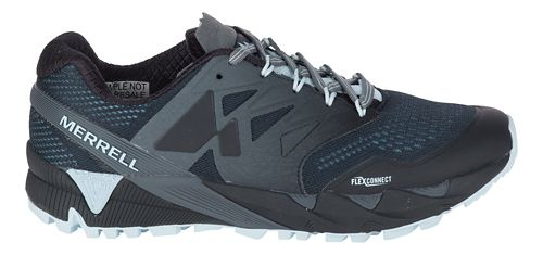 Womens Merrell Agility Peak Flex 2 E-Mesh Trail Running Shoe - Black/Light Blue 9