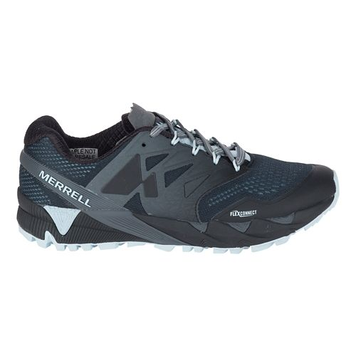 Womens Merrell Agility Peak Flex 2 E-Mesh Trail Running Shoe - Black/Light Blue 11