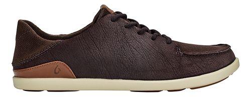 Mens OluKai Manoa Leather Casual Shoe - Dark Wood/Toffee 10