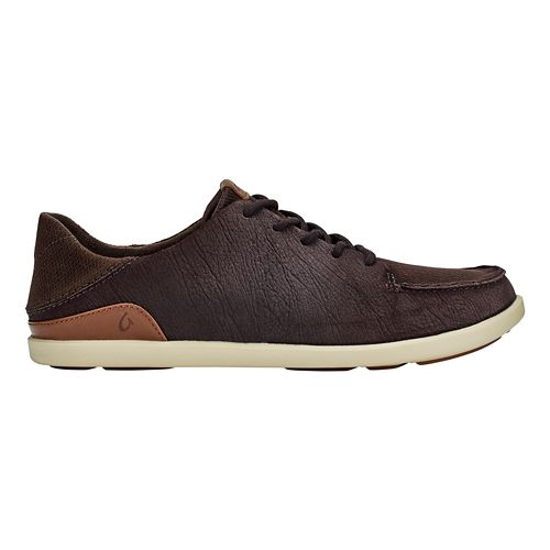 Mens OluKai Manoa Leather Casual Shoe - Dark Wood/Toffee 10