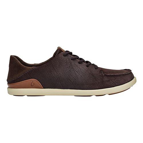 Mens OluKai Manoa Leather Casual Shoe - Dark Wood/Toffee 9.5