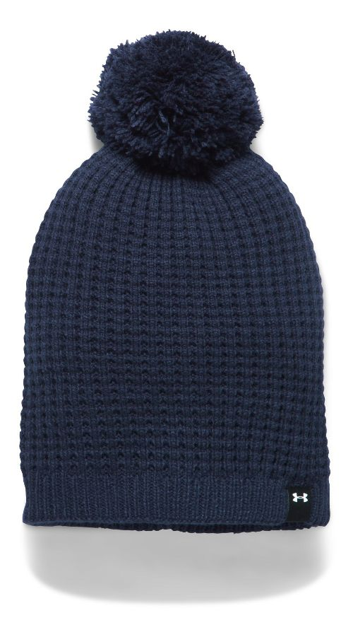 Womens Under Armour Favorite Waffle Pom Beanie Headwear - Midnight Navy