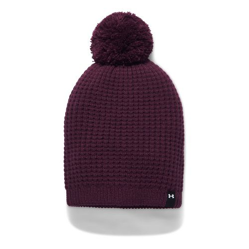 Womens Under Armour Favorite Waffle Pom Beanie Headwear - Raisin Red
