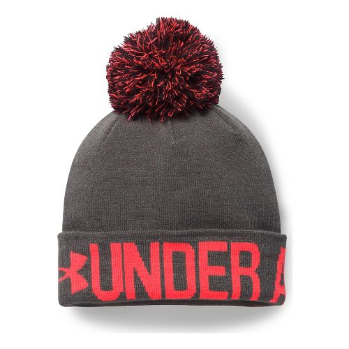 Womens Under Armour Graphic Pom Beanie Headwear - Carbon Heather/Red