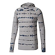 Mens adidas Primeknit Long Sleeve Half-Zips & Hoodies Technical Tops - Medium Grey M