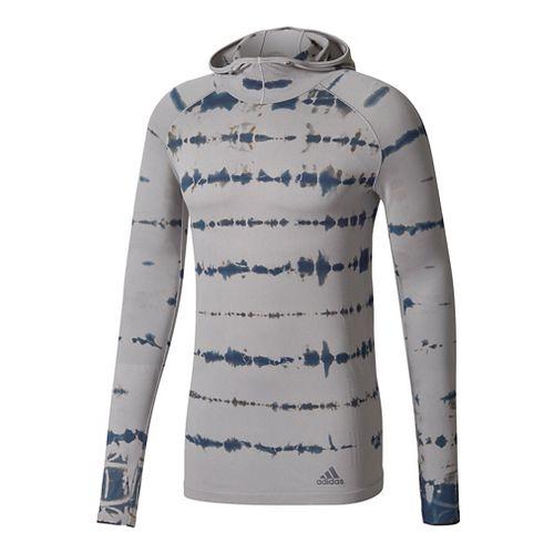 Mens adidas Primeknit Long Sleeve Half-Zips & Hoodies Technical Tops - Medium Grey M