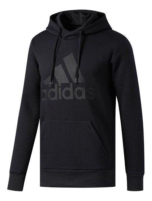 Mens adidas Essentials Cotton Pullover Logo Half-Zips & Hoodies Technical Tops - Black S