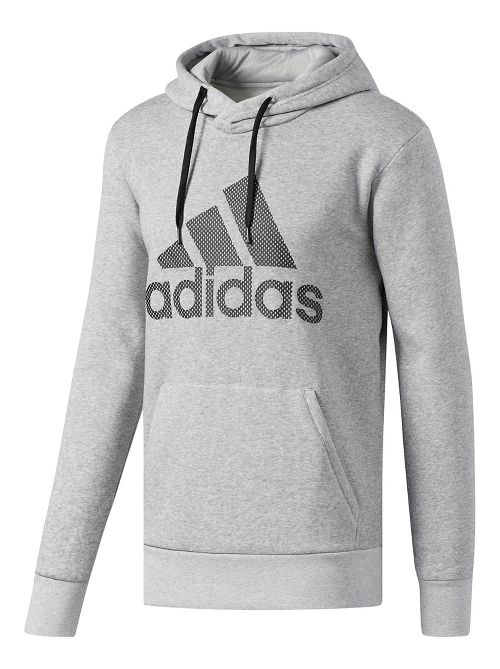 Mens adidas Essentials Cotton Pullover Logo Half-Zips & Hoodies Technical Tops - Grey/Black XL